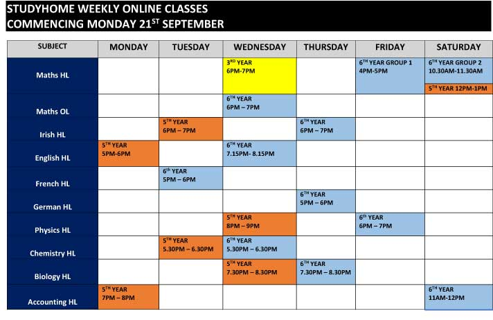 Online Classes Timetable